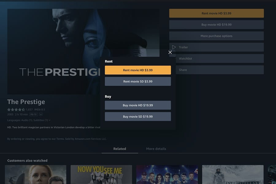 Buying A Movie On Amazon Prime