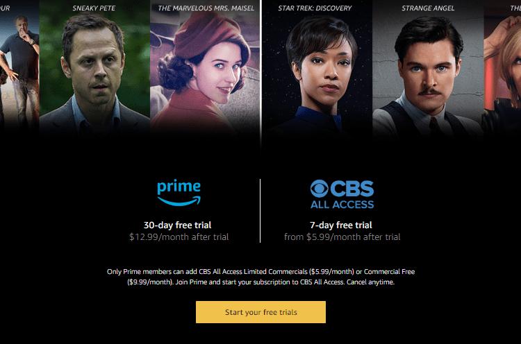 amazon prime CBS all access connection
