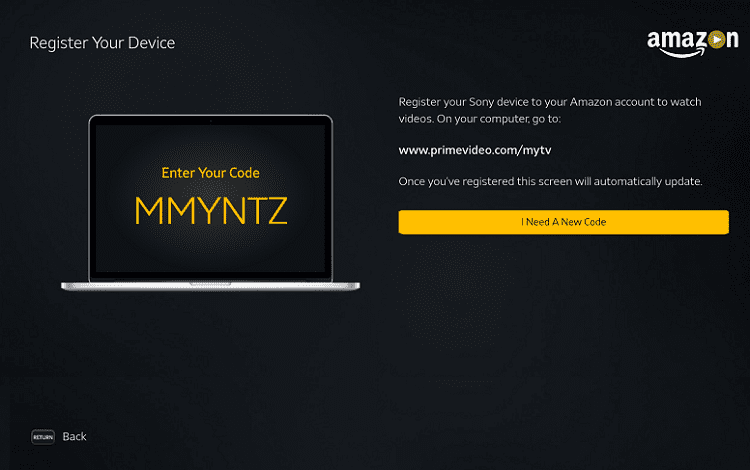 device registering on amazon