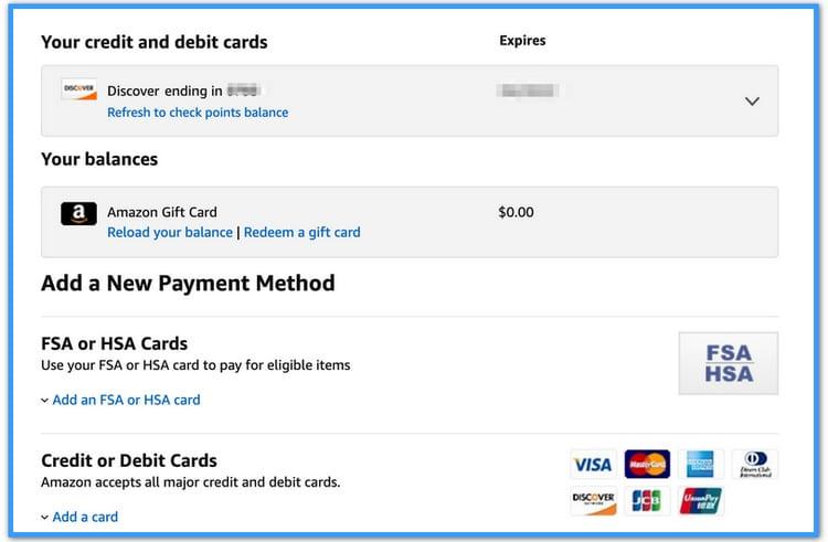 credit card info location